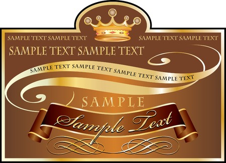 layer styles:  label in chocolate and golden colors, fully editable with sample text in separate layer