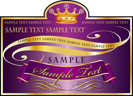 sample text:   label in purple and golden colors, fully editable with sample text in separate layer Illustration