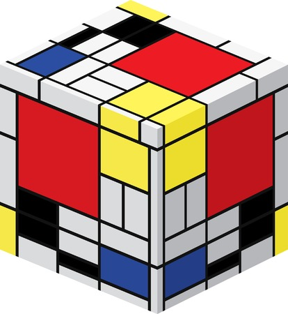 red cube: cubo con Mondrian pittura  Vettoriali