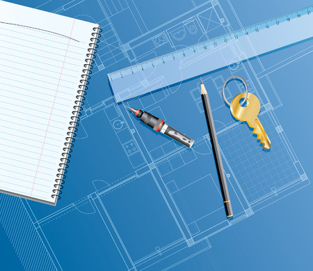 golden key:  realistic illustration with blueprint, ruler, golden key and pencil