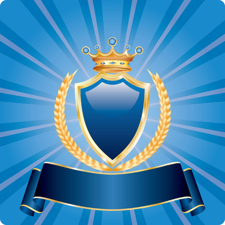 coat of arms shield:   blue blank label with golden wheat and crown, fully editable