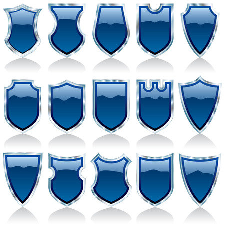 set of  blue and silver shiny shields Vector