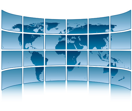 a window on the world:  picture of screens with world map  Illustration