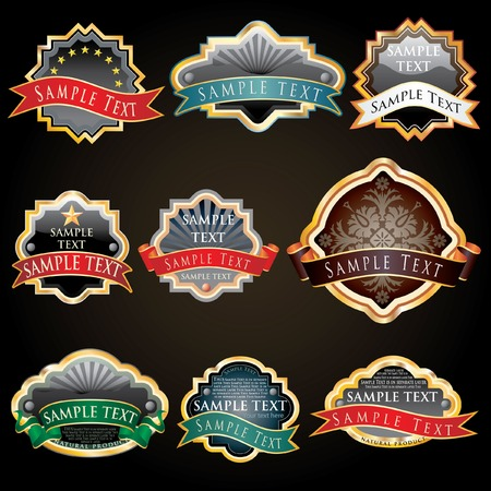 nine   labels for various products like food and beverage Vector