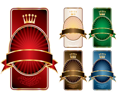 vector labels with crown in five color variations Vector