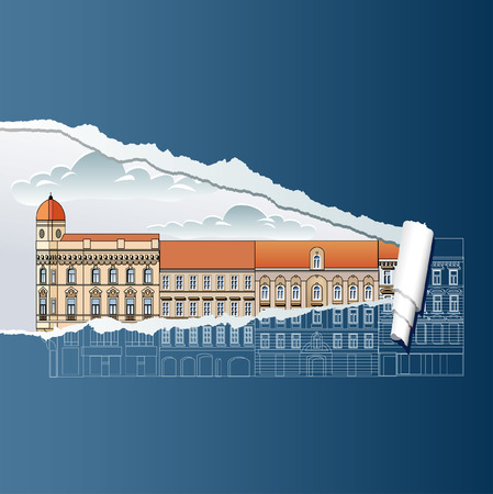 tile roof: vector ripped blueprint with old houses Illustration