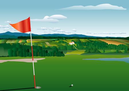 mountain meadow: terreno de golf de vector con paisaje agr�cola
