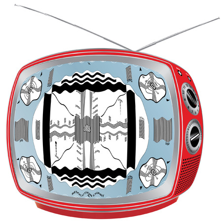contrast resolution:   illustration of vintage red television with interference