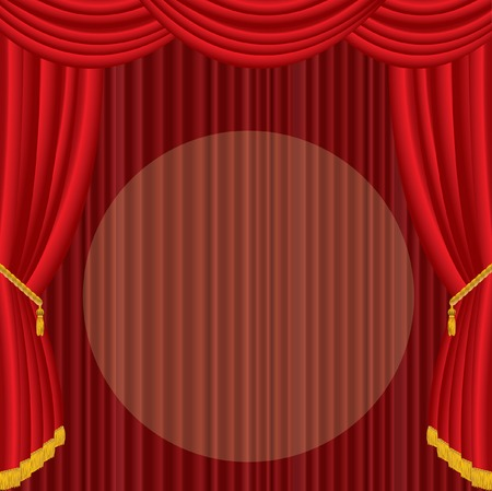 stage with red curtain and big spot light Vector