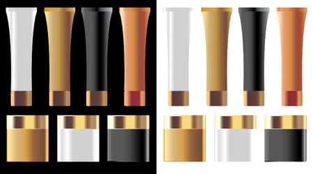 conjunto de cosméticos en blanco con gorras de oro  Ilustración de vector