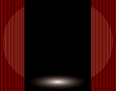 stage with red curtain and spotlight Vector