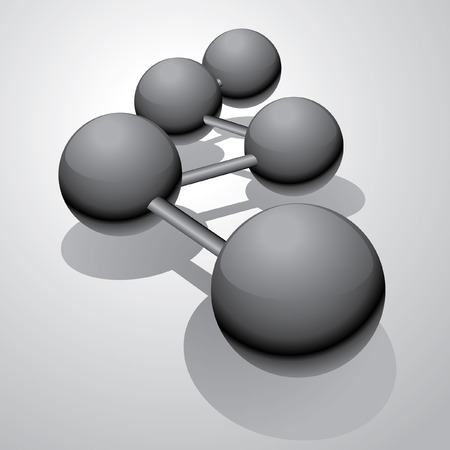 abstract illustration with black connected balls Vector