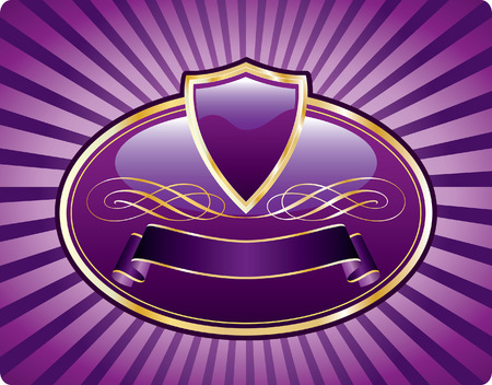 purple blank label like medallion with shield and banner Vector