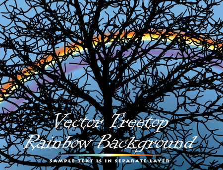 background with treetop and rainbow (sample text is in separate layer) Vector