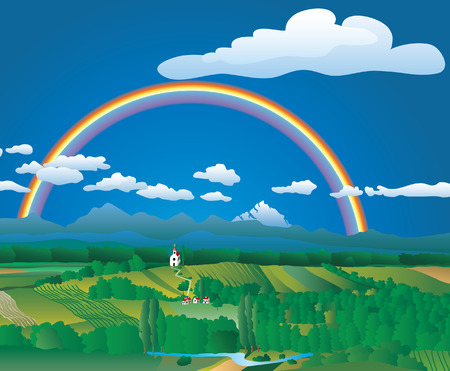 landscape with rainbow, layered and fully editable Stock Vector - 7685182