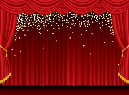 b�hne: Red B�hne mit fallenden goldenen Sternen