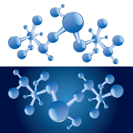 abstract  illustration of the blue molecules Vector