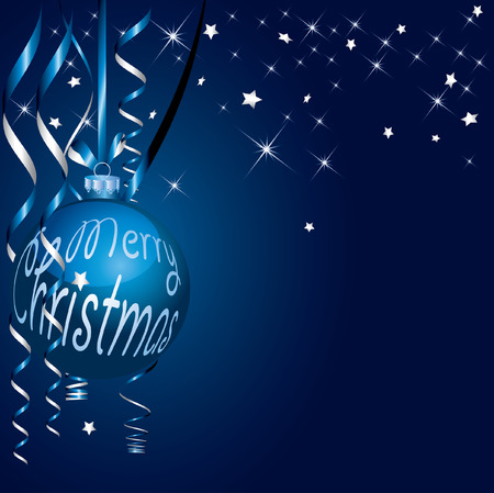 fully editable Christmas background in blue and silver Stock Vector - 7715444