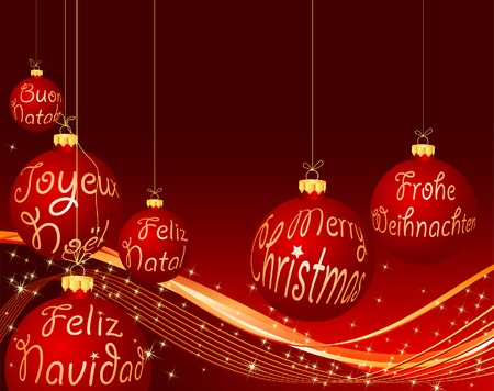 Christmas card in six languages Vector