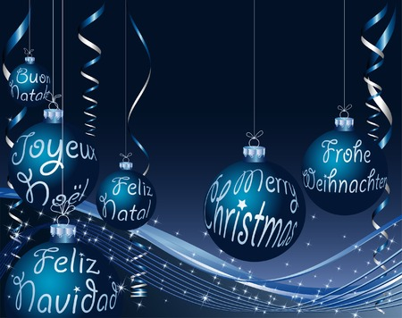blue Christmas card in six languages Vector
