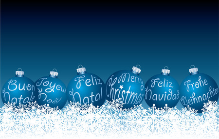 blue Christmas balls in six languages Vector