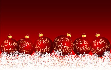 german:  red Christmas balls in six languages Illustration
