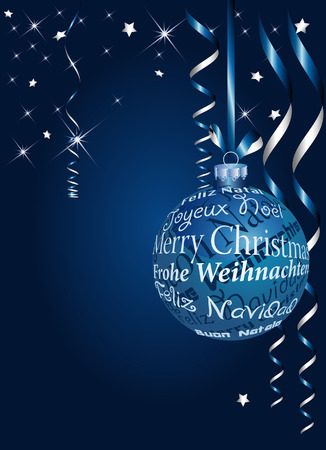 blue Christmas ball in six languages Vector