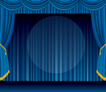 ten empty:   blue stage with big transparent spot light
