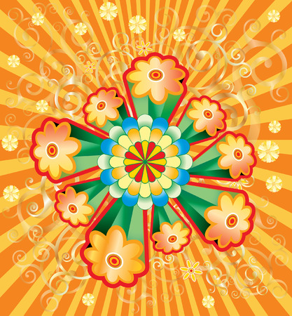 illustration of the flower power explosion  Vector