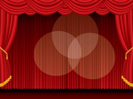 ten empty:  empty stage with three spotlights