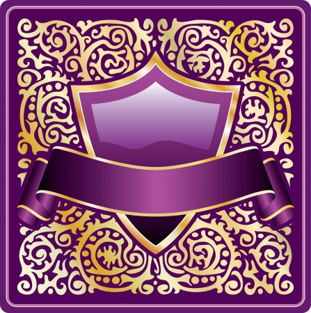 violet label for various products like cosmetics and beverages Vector