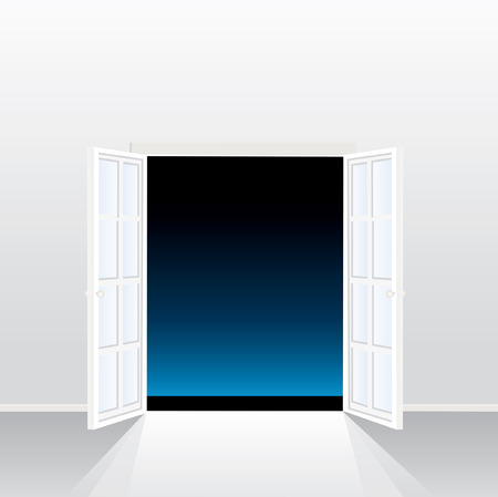 puertas de cristal: ventana abierta de franc�s en la noche vac�a  Vectores