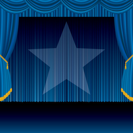 theatrical:  blue stage with spotlight star