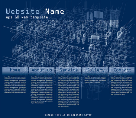web site layout with wireframe town construction  Vector