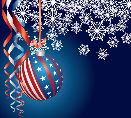 Christmas night with USA ball Vector