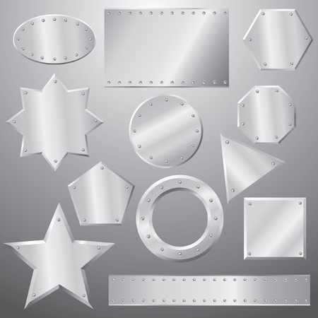 metal plates set, grouped objects, fully editable Vector