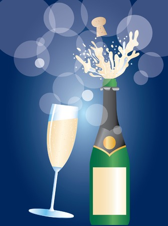 popping the cork:   illustration of the champagne explosion Illustration