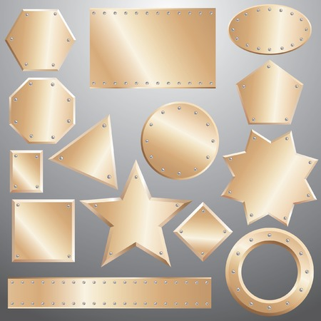 bronze plates set, grouped objects, fully editable Vector