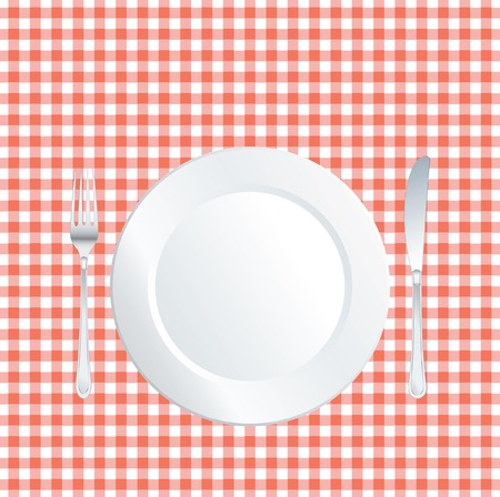 jowl:   plate on red square tablecloth