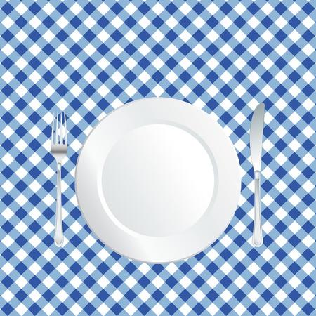 manteles: placa de mantel cuadrado azul  Vectores