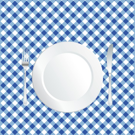 blue white kitchen:   plate on blue square tablecloth