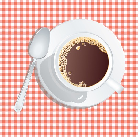 table cloth:  cup of coffee