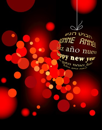 blurry red new year background on six languages Vector