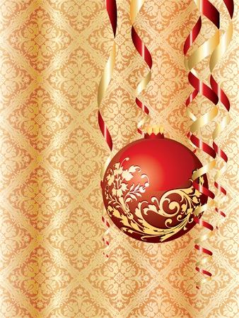 Christmas ball on golden damask wallpaper Stock Vector - 7988635