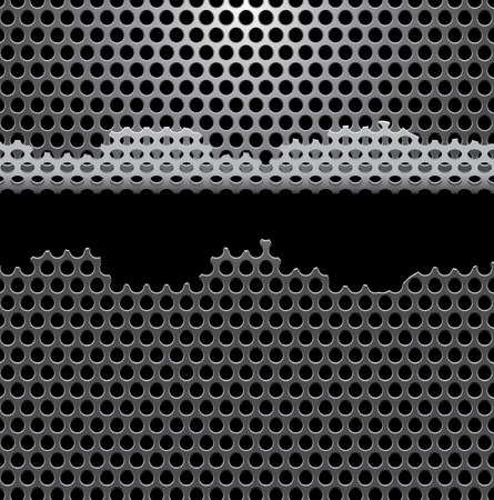 perforation texture:   background with damaged perforated metal plate
