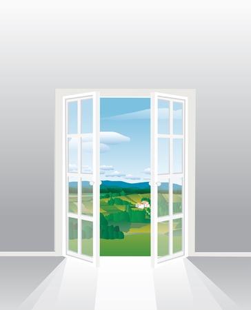 puertas de cristal: Ilustraci�n de la habitaci�n vac�a con la ventana abierta de franc�s  Vectores