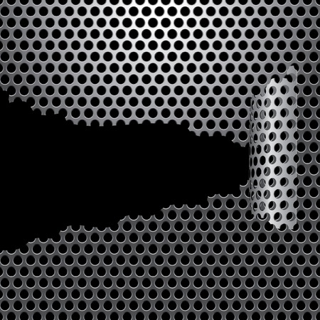 background with damaged perforated metal plate Vector