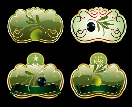 four  labels for olive products Vector