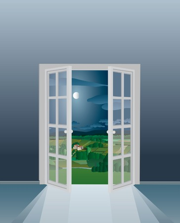 illustration of the empty room with opened french window Vector