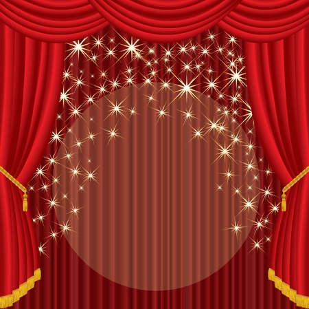 theatrical performance:   stage with red curtain and falling stars Illustration
